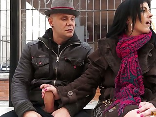 Two dudes pick up and fuck naughty mature unsubtle Montse Swinger