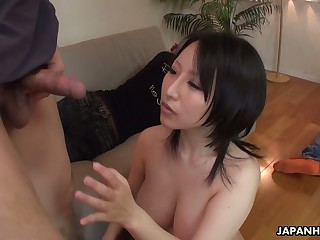 Mega busty Japanese milf Yuna Hoshizaki gives titjob and gets her slit creampied
